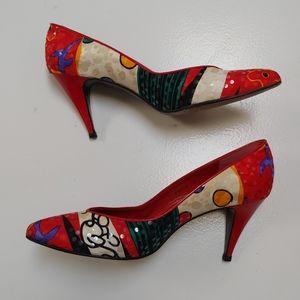 Stuart Weitzman vintage multi color heels